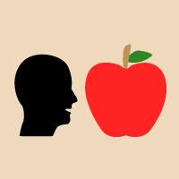 Gesicht und Apfel in gleicher Größe
