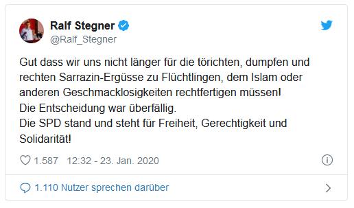 Tweet von Ralf Stegner (SPD) zum Parteiausschluss von Thilo Sarrazin