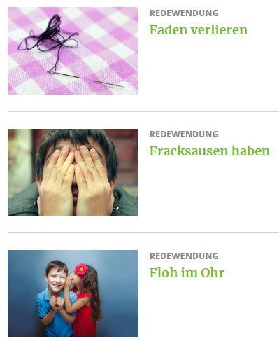 Screenshot der GEO-Seite mit Redewendungen für Kinder
